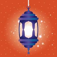 ramadan kareem blå lykta hängande