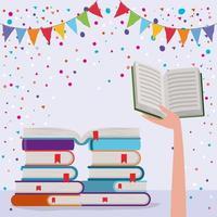 staplade böcker och vimpel dekoration