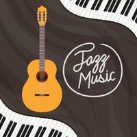 Jazz Day Poster mit Klaviertastatur und Akustikgitarre vektor