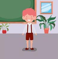 liten studentpojke i klassrummet vektor