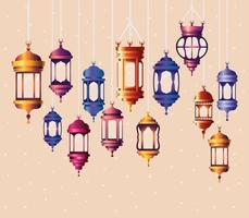 Ramadan Kareem farbige Laternen hängen vektor