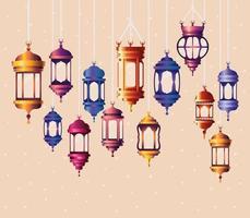 ramadan kareem färgade lyktor hängande