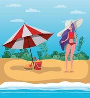 flicka med sommar badkläder design vektor