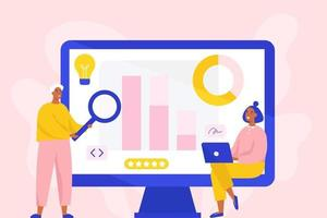koncept för affärsanalys, marknadsundersökning, produkttestning, dataanalys. två marknadsföringsspecialister som gör analyser. platt vektorillustration.