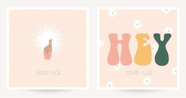 Set aus zwei bunten Postkarten im Hippie-Stil mit Vintage-Schriftzug. Text viel Glück, hey du bist süß. boho chic strukturierte Postkarten. flache Vektorillustration. vektor