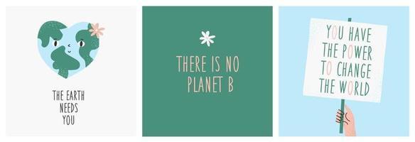 jorddag vykort. uppsättning av 3 söta färdiga miljövykort med jorden, bokstäver, blommor. vektor