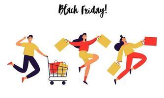 Satz von Menschen mit Einkaufstüten. schwarzes Freitag Banner. flache Vektorillustration.