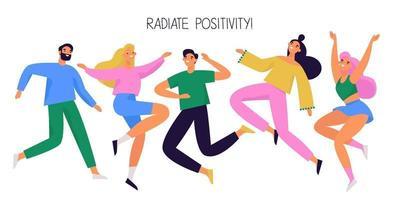 Gruppe von glücklichen Menschen springen und tanzen. freudige und positive verschiedene Charaktere. bunte Vektorillustration. vektor