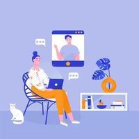 kvinna med laptop sitter i en stol. kvinna frilansare hemma. online arbete, online konversation. platt vektorillustration. vektor