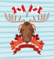 Kanada-Tag mit Elch- und Ahornblattentwurf vektor