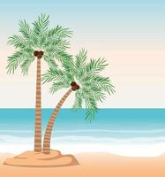 Strandlandschaft mit Palmen vektor