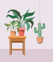 krukväxt med makramhängare och krukväxter på ett träbord vektor