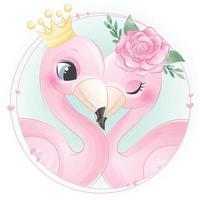 süßes Flamingo-Paar mit Blumenillustration vektor
