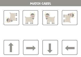 vänster, höger, upp eller ner. rumslig orientering med tecknad get. vektor
