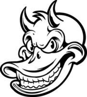 lächelnder Ententeufelcharakter, Maskottchenschattenbild vektor