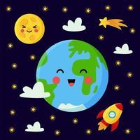 söt jord bland stjärnor och raket. vektor affisch.