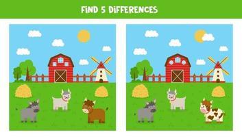 hitta 5 skillnader mellan gårdens bilder. spel för barn. vektor