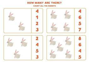 Zählspiel mit Cartoon-Kaninchen. Mathe-Arbeitsblatt. vektor