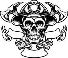 Schädel im Feuerwehrmannhut und Kreuzaxt, Logo Maskottchen Silhouette vektor