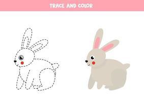 Spur und Farbe niedlichen Kaninchen. Raumarbeitsblatt für Kinder. vektor