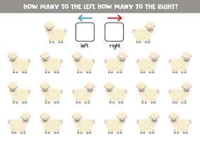 vänster eller höger med söta får. logiskt kalkylblad för förskolebarn. vektor