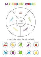 mitt färghjul. pedagogiskt spel för att lära sig primära färger. vektor