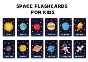 solsystemets planeter med namn. space flash-kort. vektor