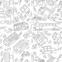 Vektor schwarz und weiß Gekritzel Monoline Autos. nahtlose Baby Boyline Monoline. Textur für Tapeten, Füllungen, Webseitenhintergrund.