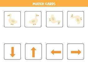vänster, höger, upp eller ner. rumslig orientering med tecknad gås. vektor