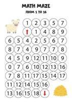 Bringen Sie süße Schafe zum Heu, indem Sie bis 16 zählen. vektor