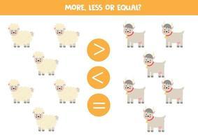 mehr, weniger, gleich mit Comic-Schafen und Ziegen. vektor