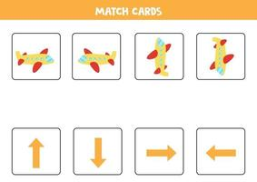 vänster, höger, upp eller ner. rumslig orientering med tecknad flygplan. vektor