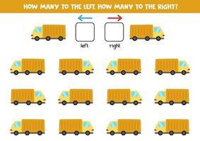 vänster eller höger med tecknad lastbil. pedagogiskt spel för att lära sig vänster och höger. vektor