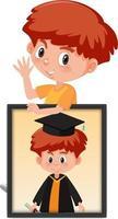 Zeichentrickfigur eines Jungen, der sein Abschlussporträtfoto hält