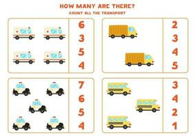 Mathe-Spiel. Zähle alle Fahrzeuge. Transport thematische Spiele. vektor