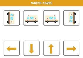 vänster, höger, upp eller ner. rumslig orientering med tecknad ambulansbil. vektor