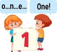 tecknad karaktär av två barn som stavar nummer ett