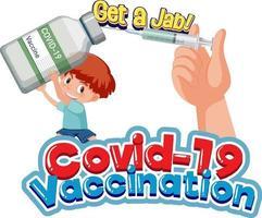Covid-19-Impfschrift mit einem Jungen, der Impfflasche und Spritze hält vektor
