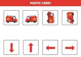 vänster, höger, upp eller ner. rumslig orientering med tecknad brandbil. vektor