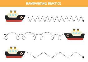 Verfolgen Sie die Linien mit Cartoon-Schiff. Schreiberfahrung. vektor