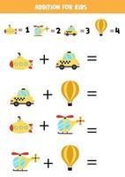 tillägg för barn med tecknade transportmedel. vektor