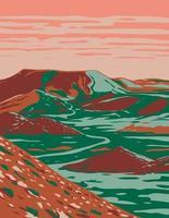 Alibates Flint Steinbrüche Nationaldenkmal zeigt Red Bluffs Canyon Rands und Mesas in der Nähe von Fritch Texas, WPA Poster Art vektor