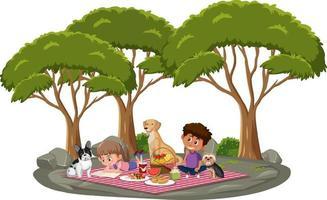 barn gör picknick i parken med många träd vektor
