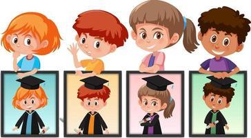 viele Kinder halten ihre Abschlussfotos