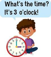 Zeit erzählen mit einem Jungen, der eine Uhr hält vektor