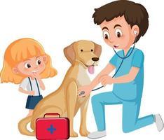 veterinärläkare och hund på vit bakgrund vektor