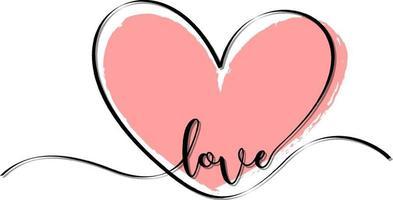 rosa hjärta hand dras med kärleksstilsort