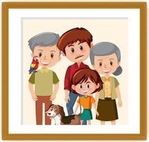 lycklig familjebild i ramkartongstil vektor