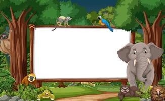 leeres Banner in der Regenwaldszene mit wilden Tieren vektor