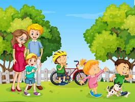 park scen med lycklig familj och många barn vektor